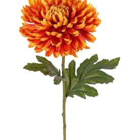 Chrysanthemum, 1 flower Ø 14 cm, h. 5 cm, 2 leaves (Polyester), 65 cm