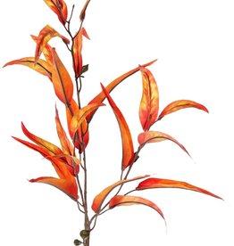 Eucalyptustak 'Ruby', 2x vertakt, 22 polyester blad & 5 plastic vruchten, bruin plastic steel, 100 cm