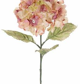 Hortensia (Hydrangea), 1 bloem (Ø 18 cm, H. 11 cm) & 3 blad (14 x 10 cm), groene steel, 73 cm