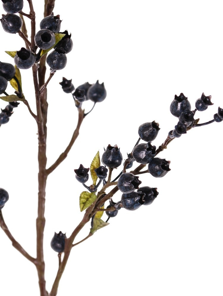 Berry branch (Vaccinium), 67 berries, (36x L/ 10x M / 10x S), 14 leaves, plastic, 60 cm
