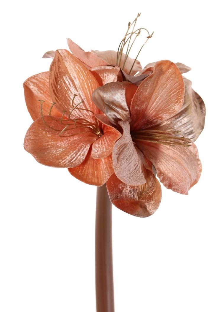 Amaryllis 'Glamour', 3 flowers Ø 9 cm, h. 14 cm, (velvet & polyester), golden plastic stamens, 69 cm