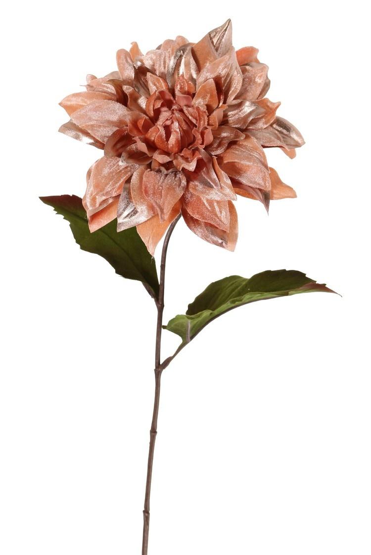 Dahlia 'Glamour', 1 flower: Ø 18cm (velvet & polyester) & 2 polyester leaves (1 L / 1 Med.), 60 cm