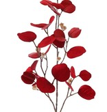 Eucalyptus branch (Gum tree) 'Glamour', 3x branched, 24 polyester leaves & plastic golden fruits, 83 cm -