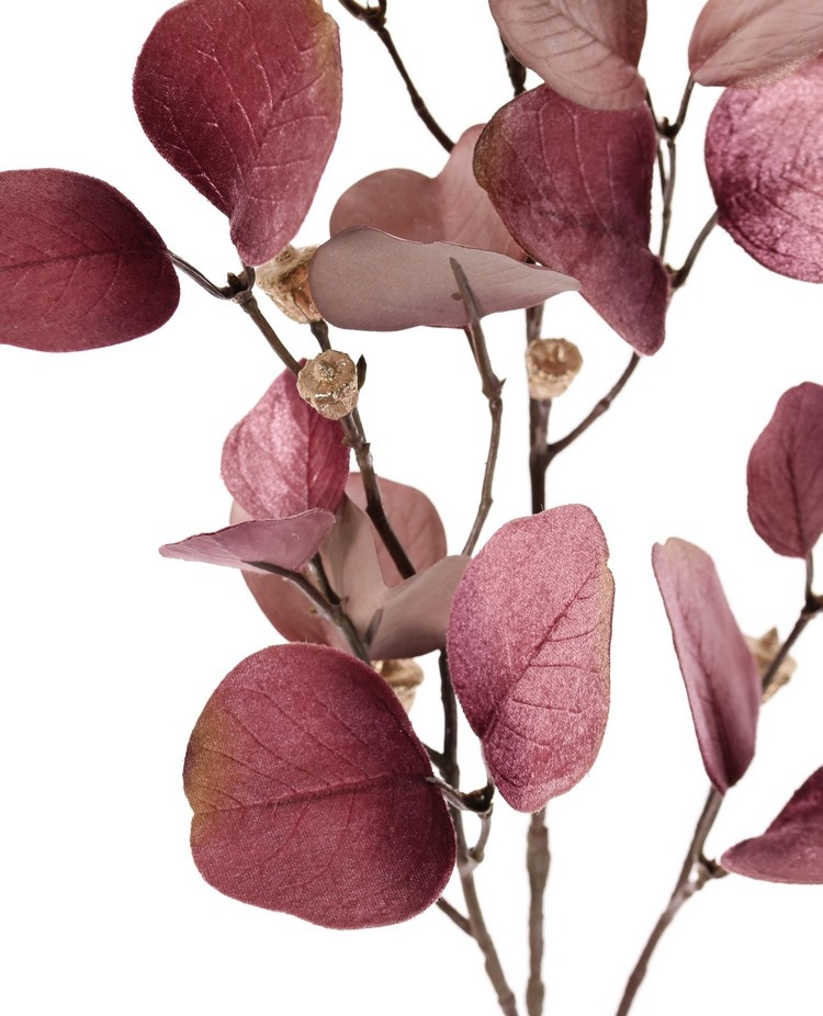 Eucalyptus branch (Gum tree) 'Glamour', 3x branched, 24 polyester leaves & plastic golden fruits, 83 cm