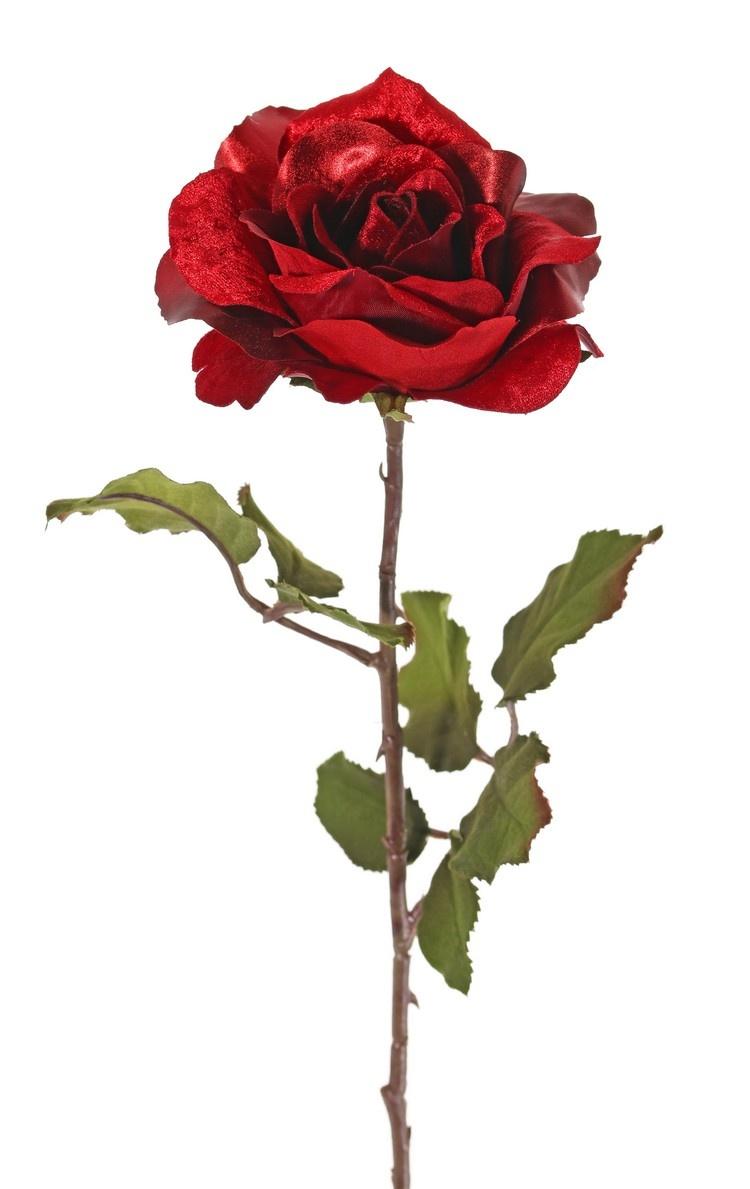 Top Art Rose 'Glamour', 1 Blume: Ø 12 cm, H. 7 cm, Samt & Polyester, 2 Blattsets mit insgesamt 8 Blättern, 61 cm