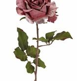 Rose 'Glamour', 1 Blume: Ø 12 cm, H. 7 cm, Samt & Polyester, 2 Blattsets mit insgesamt 8 Blättern, 61 cm