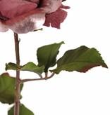 Rose 'Glamour', 1 flower:  Ø 12 cm, h. 7 cm, velvet & polyester, 2 sets of leaves, 8 leaves in total, 61 cm