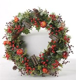 Weihnachtskranz mit Apfel, Beeren, Tannenzapfen, Efeu, Ø 21cm/37cm