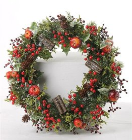Christmas wreath with appel, red berries, cones, ivy (frozen ice) Ø 21cm/37cm