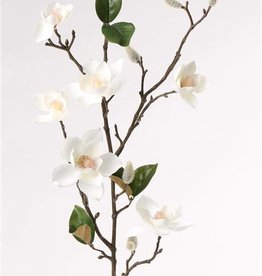 Magnolia spray (small flowers, max. Ø 9cm) x7 flrs, x10 flocked buds, &6 lvs, 90cm