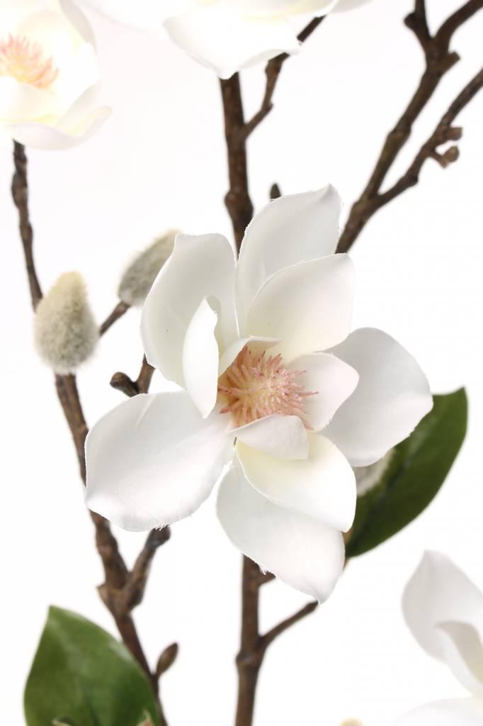 Magnolia spray (small flowers, max. Ø 9cm) x7 flrs, x10 flocked buds, &6 lvs, 90cm