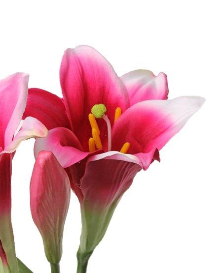 "Lilie ""longiflorum"" (Oster-Lilie) x2 Blumen, x1 Knospe, 7 Blaetter, 76cm"