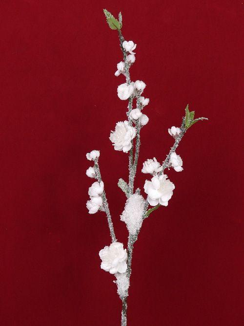 Pfirsichbluetenzweig mit Schnee 78cm