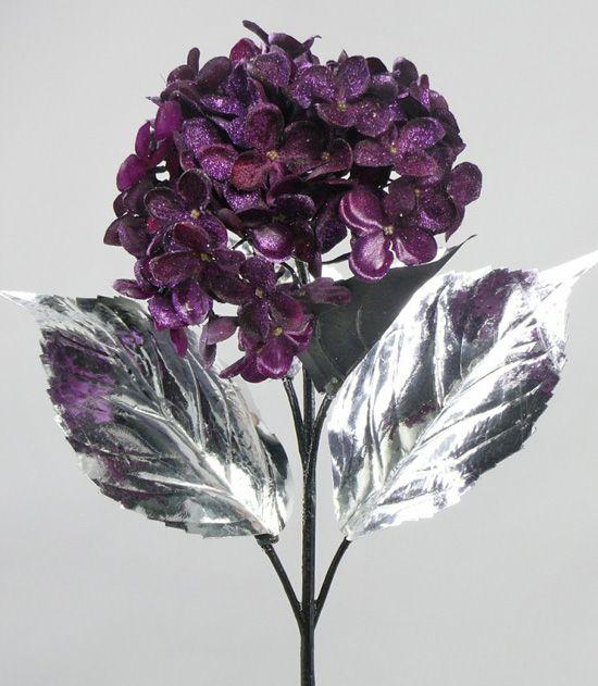 Hydrangea x4, velvet, satin, 75cm