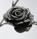 Rose, velvet satin, glitter, clip