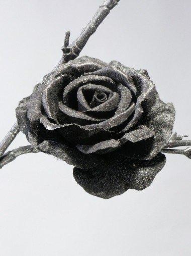 Rose velvet satin Glitter mit Clip