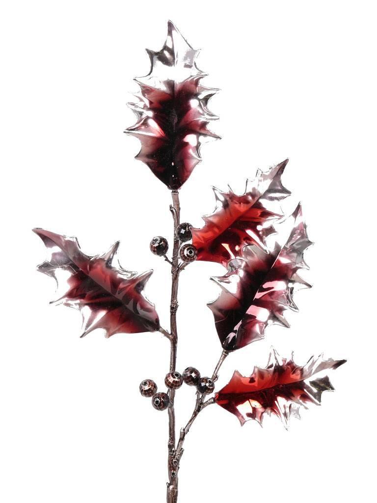 Holly berries spray elite, metallic, coated stem, 53cm