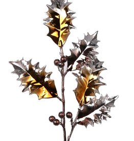 Holly berries spray elite, metallic, coated stem, 53cm