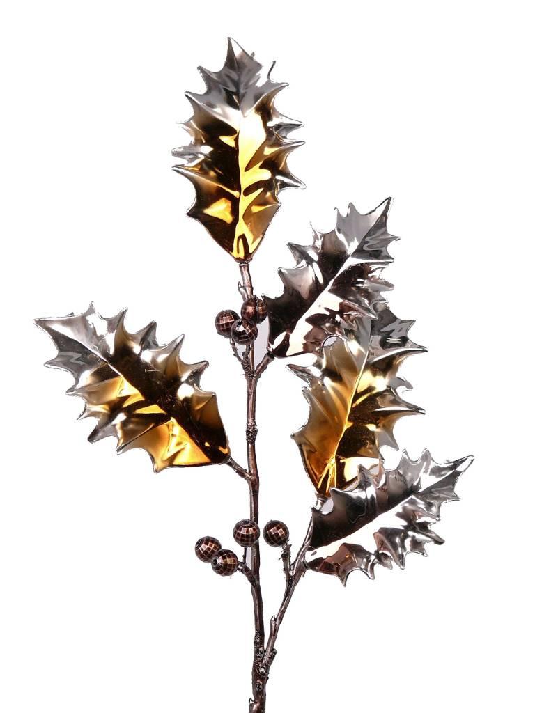 Ilexzweig metallic beschichtet 53cm