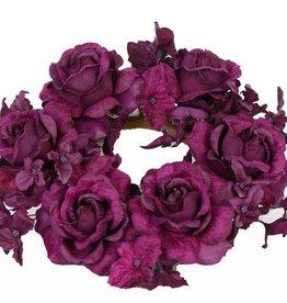 Roos/hortensia kaarsenring Ø 7,5cm Ø 18cm