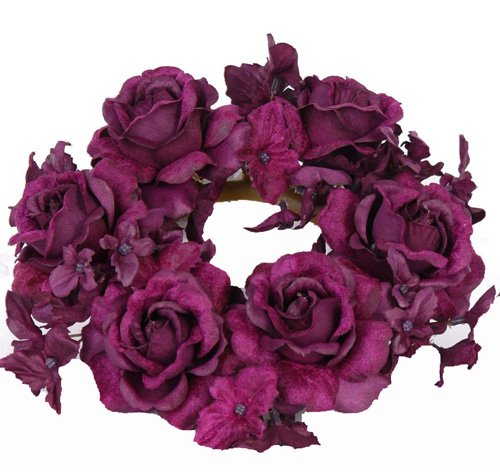 Rose/Hydrangea candlering Ø 7,5cm Ø 18cm