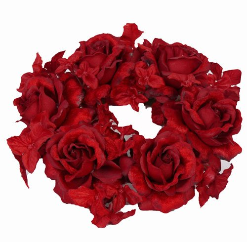 Roos/hortensia kaarsenring Ø 18cm