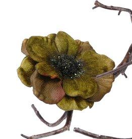 Anemone (Samt) auf mit Federclip, 11cm