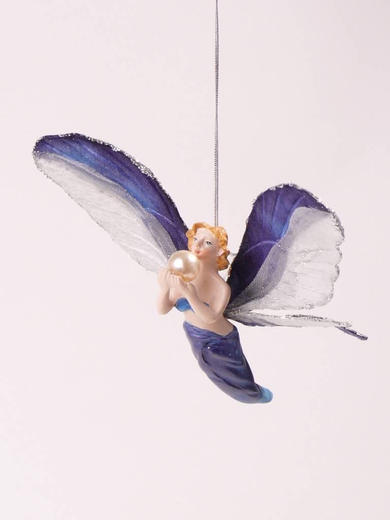 Engel hanger 12cm blauw, in pvc box