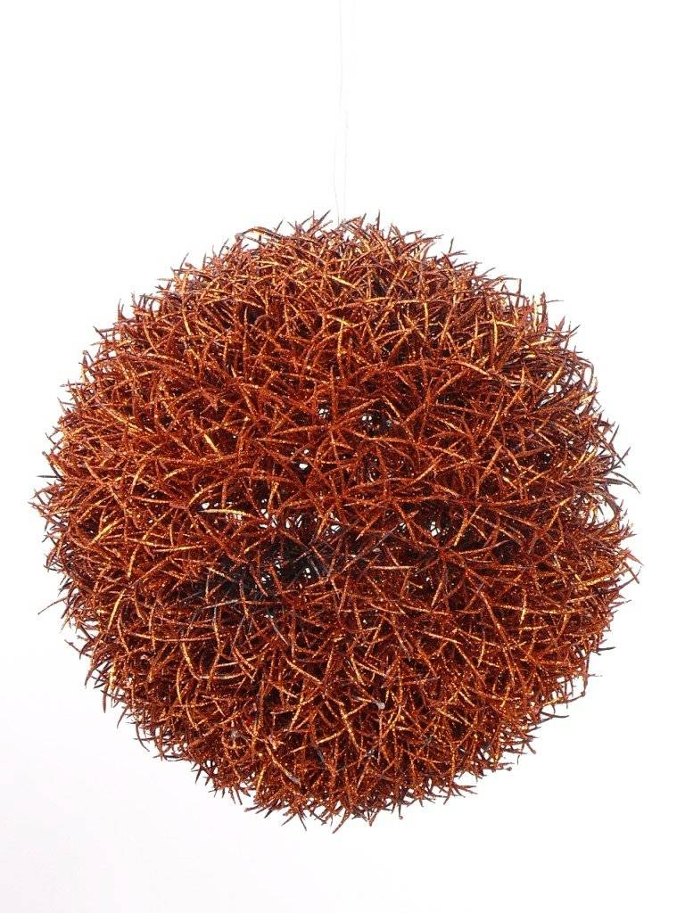 Gras Ball Haenger Kupferfarbig mit Glitter, Ø15CM