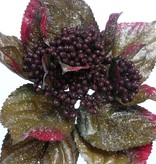 Berries spray with leaves and glitter, 35cm