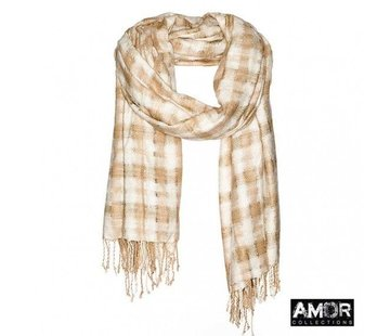 Amor AMOR Collections zijden shawl met handgeweven checks
