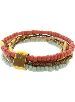 Sieraden4life Sieraden4Life Anasa luxe armband gold mint coral