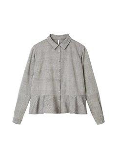 Handwoven cotton frilled hem blouse - light grey melange