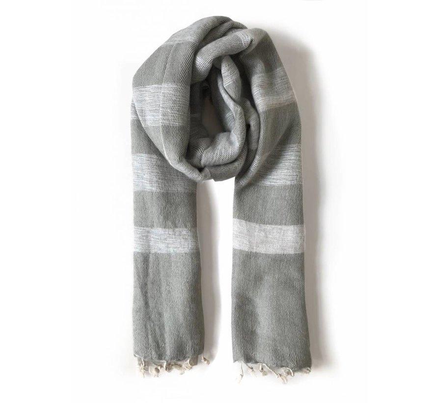 Handwoven scarf - beige sand stripe