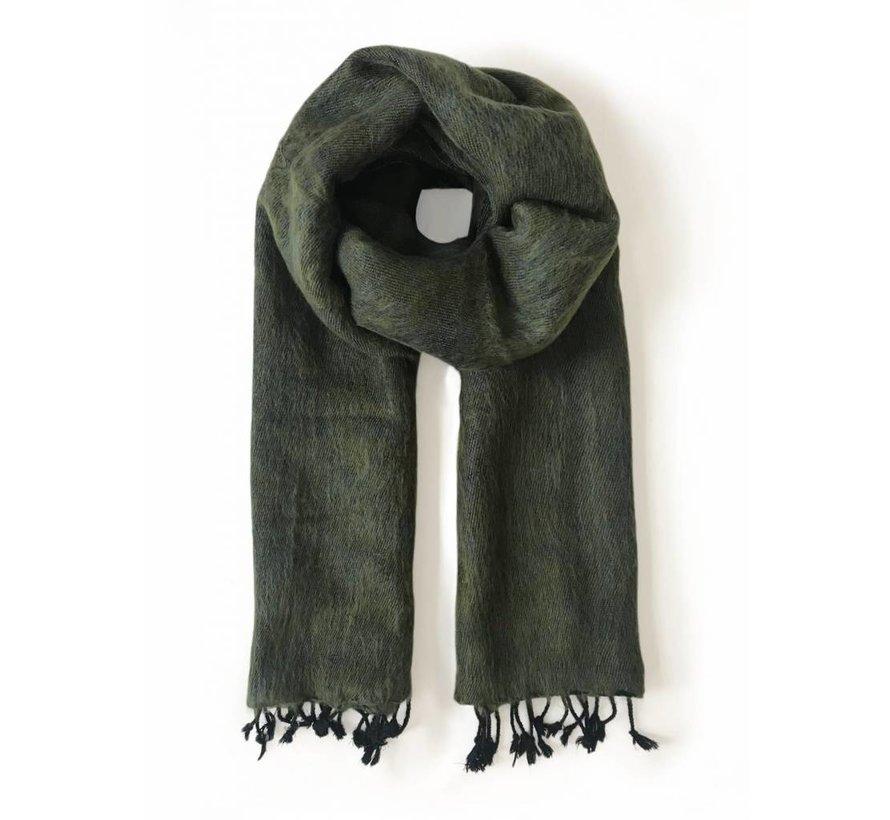Handwoven scarf - moss green