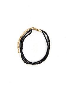Studio Jux Beads thin layered bracelet - dark green