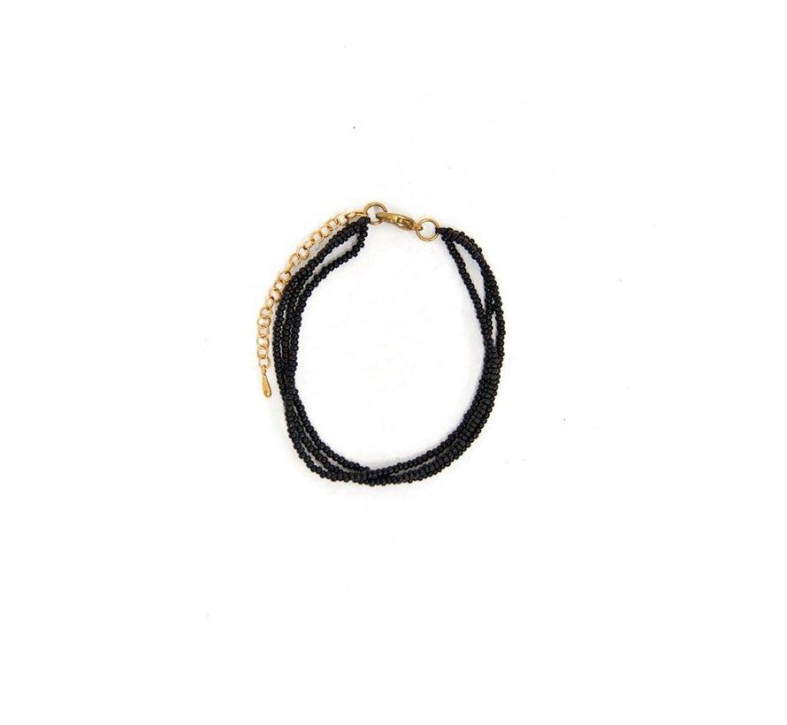 Beads thin layered bracelet - dark green
