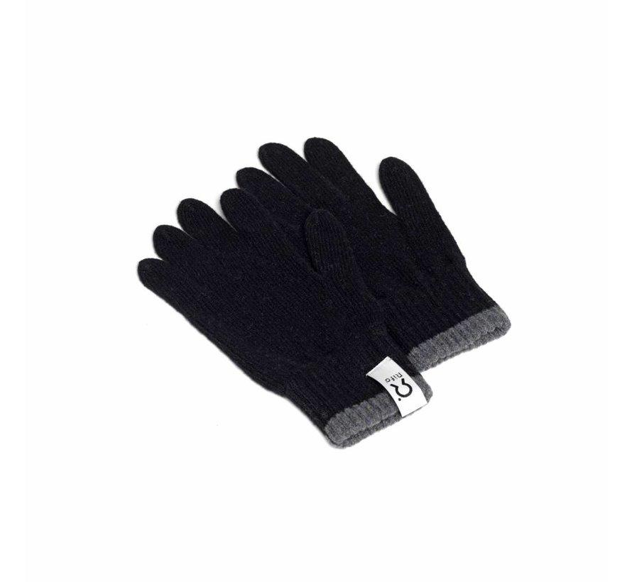 Rifo Cashmere Handschoenen Bertolucci Grijs Zwarte Bies