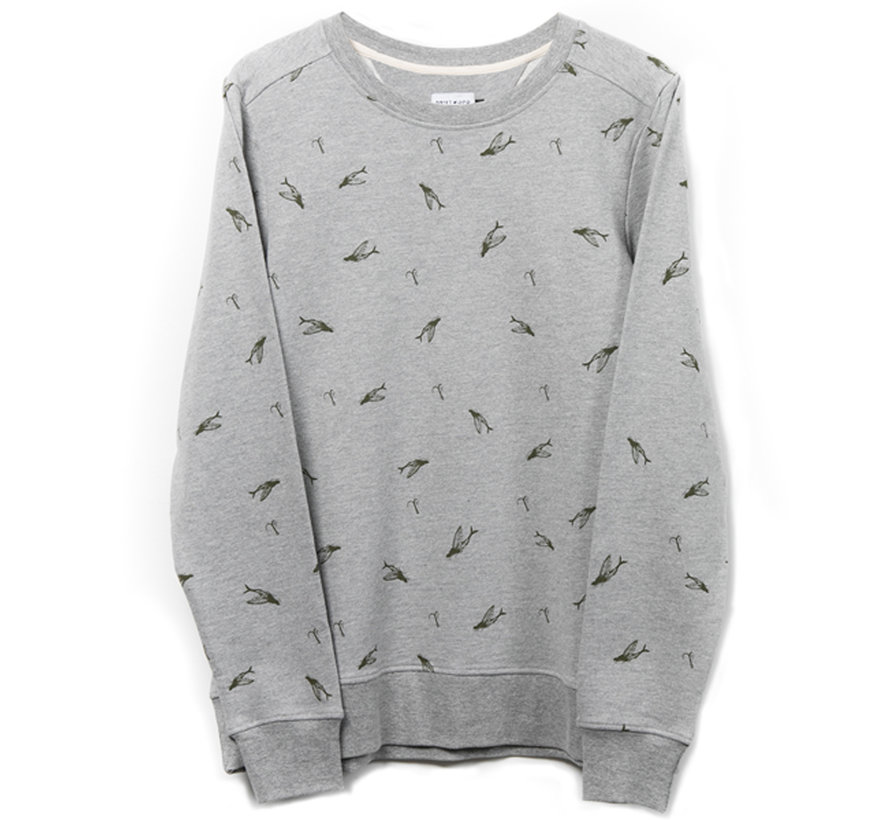 The Driftwood Tales Sweater - Organic Cotton - flying fishes - Grey melange