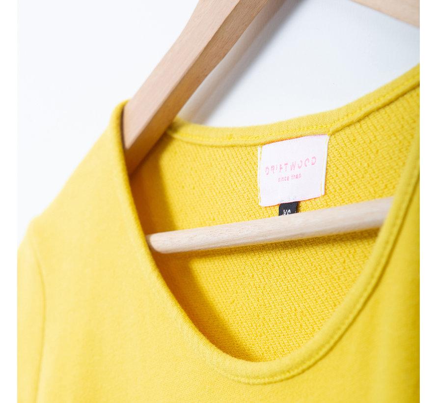 The Driftwood Tales Korte mouwen jurk van geryclede sweaterstof -geel