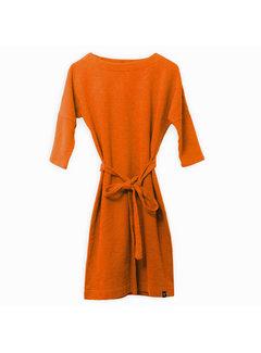 The Driftwood Tales 3/4 mouwen jurk van geryclede sweaterstof - Oranje