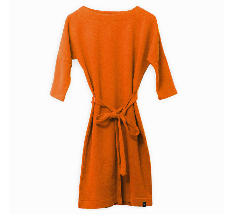 3/4 mouwen jurk van geryclede sweaterstof - Oranje