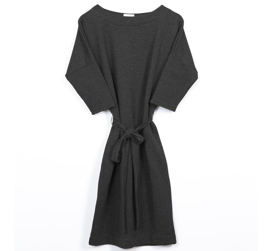 The Driftwood Tales 3/4 mouwen jurk van geryclede sweaterstof- Grijs melee