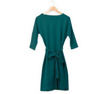 The Driftwood Tales The Driftwood Tales 3/4 mouwen jurk van geryclede sweaterstof- Perol blauw
