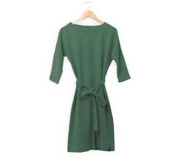 The Driftwood Tales The Driftwood Tales 3/4 mouwen jurk van geryclede sweaterstof - Legergroen