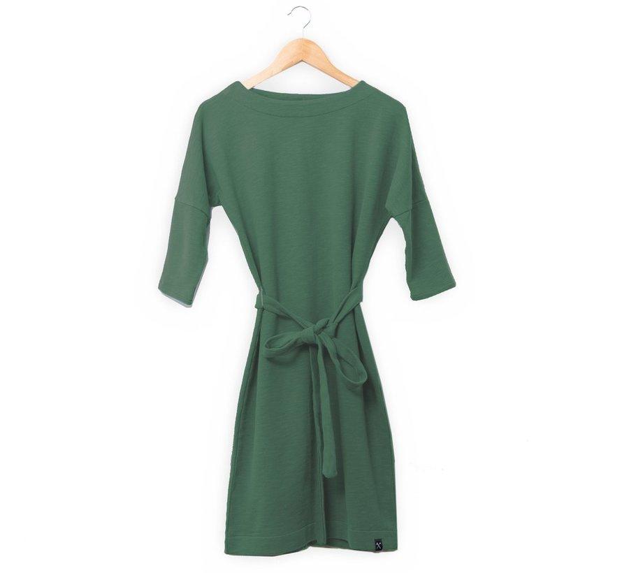 The Driftwood Tales 3/4 mouwen jurk van geryclede sweaterstof - Legergroen