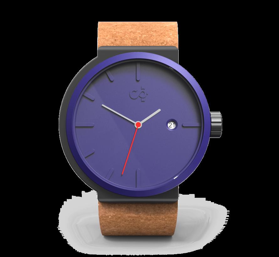 Het circulaire Perky Peacock horloge van Circular Clockworks met Sienna polsband