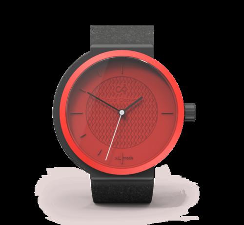 Circular Clockworks Een funky rood dameshorloge van Circular Clockworks  Funky Fox met een zwart bandje.