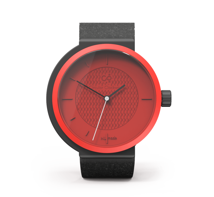 Een funky rood dameshorloge van Circular Clockworks  Funky Fox met een zwart bandje.