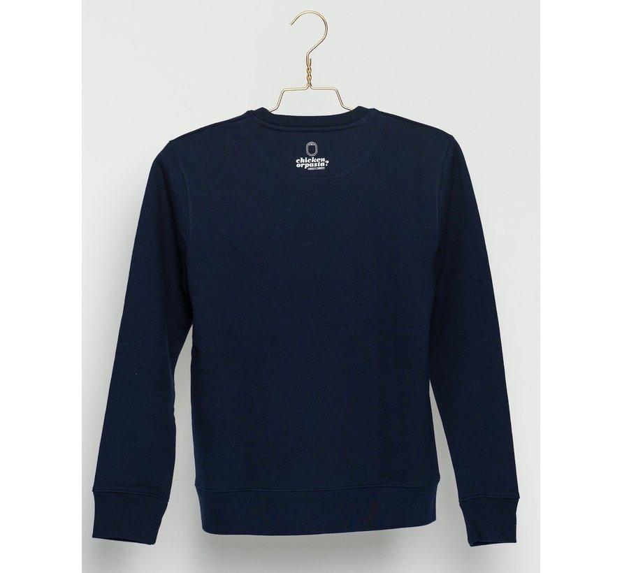 "Chicken or Pasta Sweater ""Mind Your Step"" - Navy en Geel"